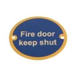 View Fire Door Keep Shut 75Mm Polished Brass Sign