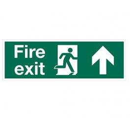 View Fire Exit Arrow Up 600Mm X 200Mm Rigid Plastic Sign