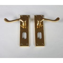View Dl54/U P.Brass Victorian Scroll Oval Lock Door Handle