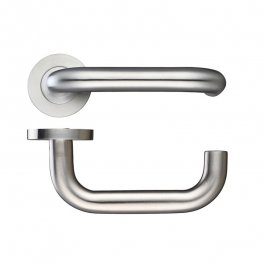 View Doorfit ICK219 Safety Lever Door Handles On Round Roses Stainless Steel (304) BS8300