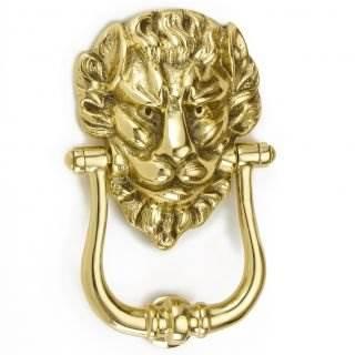 1768 Polished Brass Lions Head Door Knocker