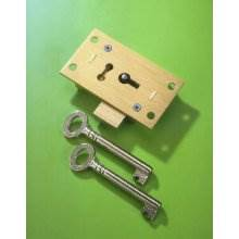 248 Brass 63mm 2 Lever Straight Cupboard Lock To Pass