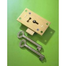 248 Brass 63mm 2 Lever Straight Cupboard Lock To Differ