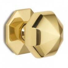 1751C 63mm P.Brass Octagonal Centre Door Knob