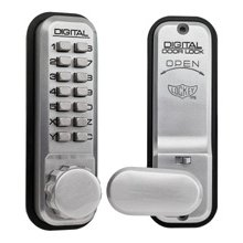 Lockey 2435 Satin Chrome Digital Door Lock With Hold Back
