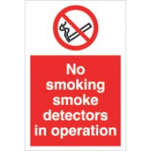 No Smoking Smoke Detectors 200Mm X 300Mm Rigid Plastic Sign