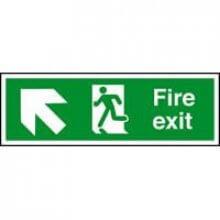 Fire Exit Arrow Up Left 400Mm X 150Mm Rigid Plastic Sign
