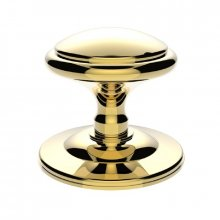 M61 Round Centre Door Knob Polished Brass