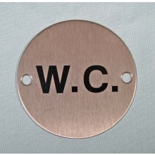 Wc Symbol 75Mm Satin Stainless Sign
