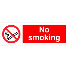 No Smoking 300Mm X 100Mm Rigid Plastic Sign