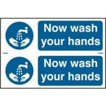 0404 Now Wash Your Hands Sign (2 Per Card)