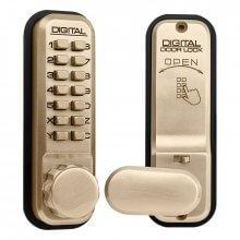 Lockey 2435 Digital Door Lock With Hold Back Polished Brass