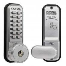 Lockey 2435KD Key Overide Digital Door Lock Satin Chrome