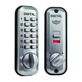 View Lockey L235 Satin Chrome Digital Door Lock With Latch Holdback