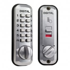 View Lockey L235 Digital Door Lock With Latch Holdback Satin Chrome