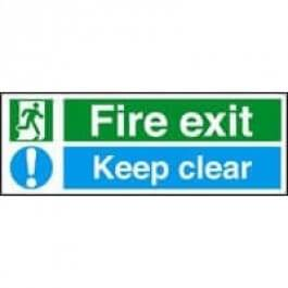 View Fire Exit Keep Clear 450Mm X 200Mm Rigid Plastic Sign