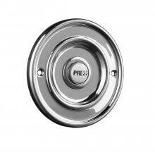 Byron 2207P1BC Bell Push Marked ''Press'' 63mm Dia Chrome
