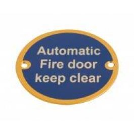 View Automatic Fire Door Keep Clear 75Mm Polished Brass Sign