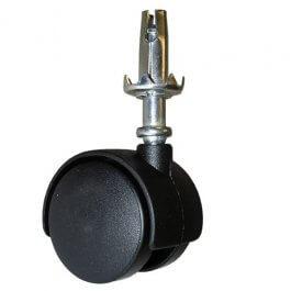 View Tw50Ss 50Mm Twin Wheel Black Plastic Castor With Stem & Socket