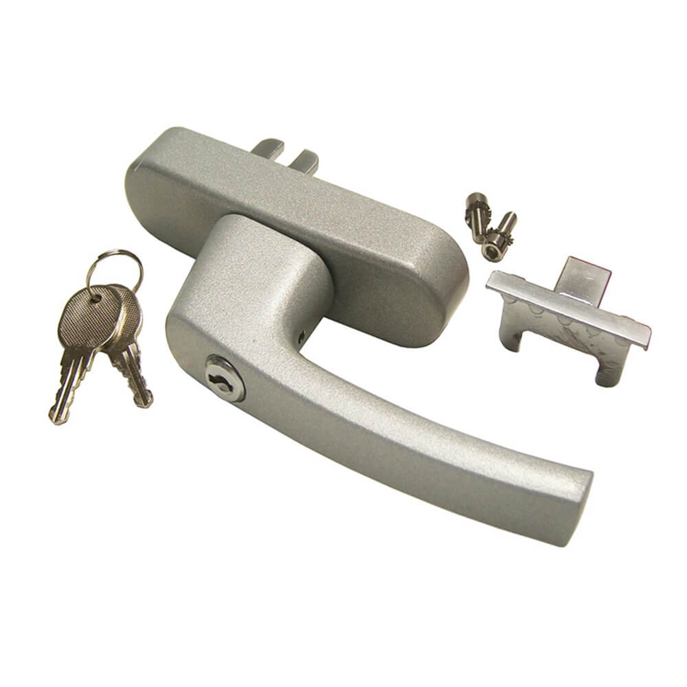 Euro Cylinder//Turn Contract Lever Handle -Satin Aluminium Backplate C//w Hinges