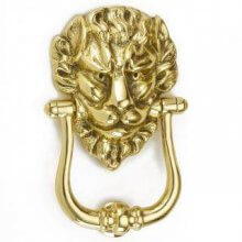 1768 Polished Brass Lions Head Door Knocker