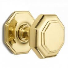 4185 102mm P.Brass Octagonal Centre Door Knob