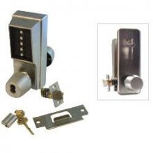 Unican 1021-26D Satin Chrome Digital Door Lock With Key Bypass With Knob