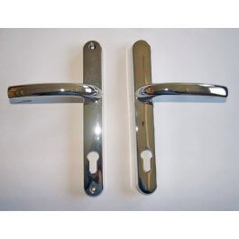 View Gridlock Polished Chrome Lever Door Handles 92mm Centres